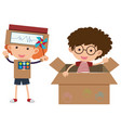 two boys with costumes made of cardboardbox vector image