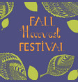 vibrant fall harvest festival poster and lettering vector image