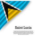 waving flag of saint lucia vector image
