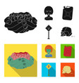 zombies and attributes blackflat icons in set vector image