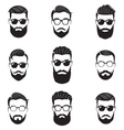 Set of bearded men faces vector image