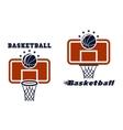 Backboard and basketball symbols vector image