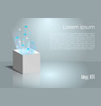magic box with light and icon in grey and blue vector image