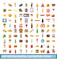 100 restaurant cafe icons set cartoon style vector image