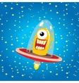 alien spaceship orange alien in space vector image vector image