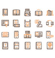 books reading color linear icons set vector image vector image
