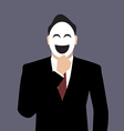 Businessman wearing a laughing mask vector image vector image