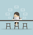 businesswoman check email messages at coffee shop vector image