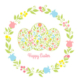 card easter eggs with flowers vector image