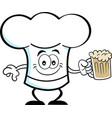 cartoon chef hat holding a beer vector image vector image