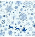 Christmas seamless blue pattern vector image