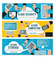 cloud computing data storage and security banner vector image vector image