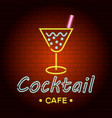 cocktail cafe logo neon light icon realistic vector image
