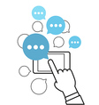 Communicating via modern smartphone concept Simple vector image vector image