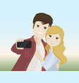 couple of lovers making a selfie vector image vector image