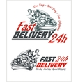 Delivery elements Gray and red shipping signs vector image