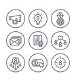 digital marketing line icons set on white vector image vector image