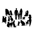 dog and his master silhouette vector image
