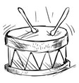 drum drawing on white background vector image vector image