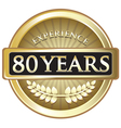 Eighty Years Experience Gold vector image vector image