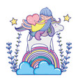 girl and unicorn in the rainbow clouds with vector image vector image