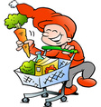 Hand-drawn of an Happy Christmas Elf on Shopping vector image