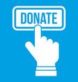 hand presses button to donate icon white vector image vector image