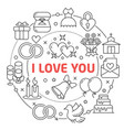 i love you linear vector image vector image