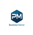 initial letter pm logo template design vector image vector image
