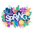 inscription hello spring on background with vector image vector image