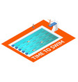isometric people diving into water vector image vector image