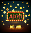 jackpot big win casino fame backdrop vector image
