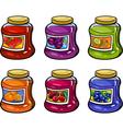 jams in jars set cartoon vector image vector image