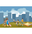 kids playing outdoor in park vector image vector image