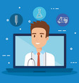 laptop with doctor character and telemedicine vector image