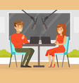 man and woman on radio podcast with microphone vector image