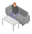 man at office sofa icon isometric style vector image vector image