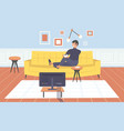 man sitting on couch watching tv guy drinking vector image vector image
