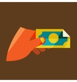 Mans hand holding a banknote vector image