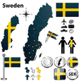 Map of Sweden with regions vector image vector image