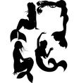 Mermaid silhouette set vector image vector image