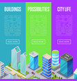 modern downtown district banners set vector image