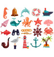 nautical elements and sea life collection vector image vector image