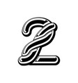 number 2 celtic font norse medieval ornament abc vector image