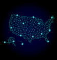 polygonal carcass mesh map of usa territories with vector image vector image