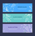 realistic shards of broken glass banner horizontal vector image vector image