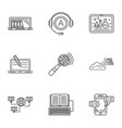 remote study icons set outline style vector image