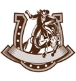Rodeo cowboy riding bronco horse horseshoe vector image vector image