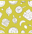 seamless pattern with served delicious breakfast vector image