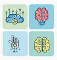 set of artificial intelligence icons vector image vector image